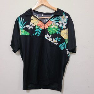 Monterey Club Tropical Floral Print Block Polo Top